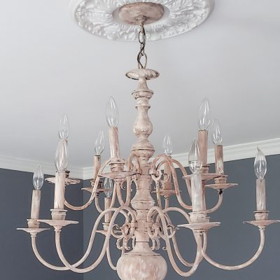Thrift store chandelier makeover